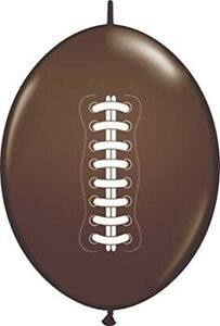 Lot of 12 Quicklink Latex Football Balloons Chocolate Brown
