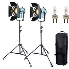 2× 1000W TUNGSTEN FRESNEL SPOTLIGHT WHEELS DIMMER VIDEO BULBBARNDOOR VIDO LIGHT