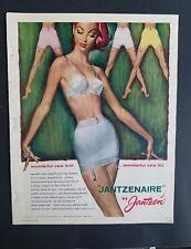 1956 women's Jantzen Jantzenaire blue girdle bra garters redhead vintage ad