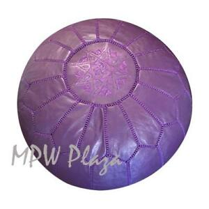 MPW Plaza Pouf, Dark Purple, Moroccan Leather Ottoman (Un-Stuffed)