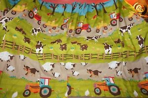 Children's farmer tractor sheep cows chickens dogs apple trees pr curtains