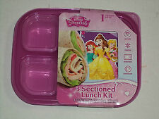Pink Disney Princess One Piece Container With Three Sectioned Lunch Kit BPA FREE