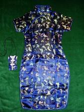 New Girls Dark Blue Chinese/Oriental Dress 8-9 Years with Purse