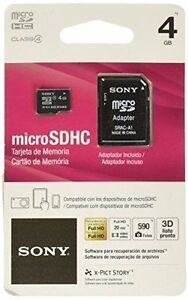 2 pack Sony 4GB MicroSD Micro SDHC Class 4 Memory Flash SD Card with SD Adapter