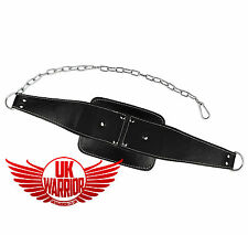 UK Warrior Leather Dipping Belt Culturismo Peso Dip Levantamiento Cadena Fitness