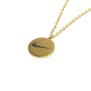 NIKE Style Swoosh Stainless Steel Chain Coin Pendant Necklace Gold | One Size