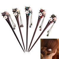 Stylish Women Vintage Wooden Hair Stick Pin Handmade Rhinestone Flower Wood