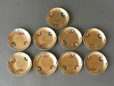 assiettes en porcelaine du Japon Satsuma Kutani joli décor or ajouré signature