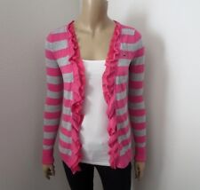 Hollister Womens Striped Ruffle Cascade Cardigan Size Small Pink & Gray
