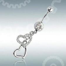 1pcs Heart Rhinestone Dangle Barbell Belly Button Navel Ring Bar Body Piercing