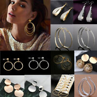Fashion Women Lady Geometric Round Big Circle Hoop Tassel Ear Stud Earrings Gift