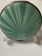 Art Deco Solid Sterling Silver & Guilloche Enamel Compact B'ham, 1936, 57.6g