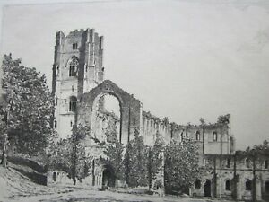 Charles Dupechez - FOUNTAINS ABBEY - Fine SIGNED Antique Etching c.1920