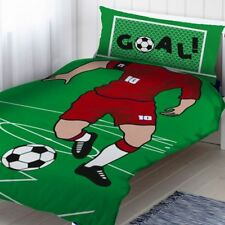 RED FOOTBALLER SINGLE DUVET COVER SET KIDS BOYS BEDDING FOOTBALL PITCH