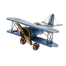 Tin Metal Military Aircraft Airplane Model Biplane Kids Play Decor Toy Blue