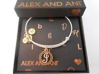 Alex and Ani Initial J Two-Tone Bangle Bracelet- Rafaelian Gold and Silver NWTBC