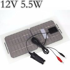 12V Solar Panel Car Battery Charger 5.5W Motor Boat Vehicle 5V USB Universal
