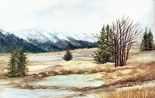 Lamar Valley Yellowstone National Park Watercolor Reproduction