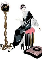 Erte 1987 HARMONY LADY in BLACK WHITE LACE DRESS Matted Art Deco Fashion Print