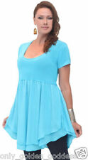 turquoise blouse top empire layered cup sleeve os m l xl 1x2x zs518