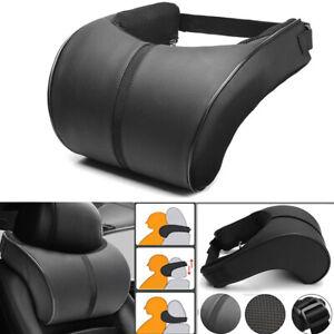 Black PU Leather Car Seat Headrest Memory Foam Pillow Head Neck Rest Cushion