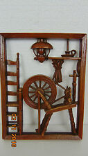 VintageWood decorations hung on a wall- Spinning Wheel frame 7 x 9.5