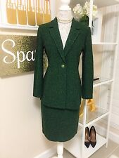 Pre-owned Women's St. John Collection by Marie G Tweed Skirt Suit, Green, Size 4