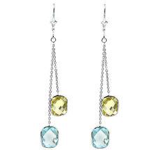 14K White Gold Gemstones Earrings With Lemon and Blue Topaz Dangle