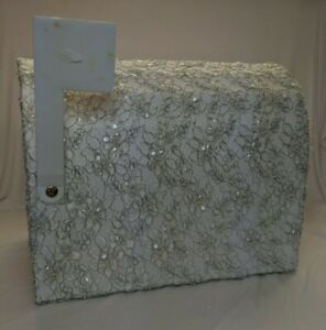 Formal Lace Wedding Card Reception Box - Mail box style with place on flag 4 pic
