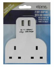 USB Charging Ports 3 Pin Plug 13A 2 Way Wall Adaptor Socket Phone Tablet UK Main