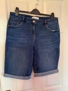 Womens Next Size 16 Blue Denim Knee Length Shorts