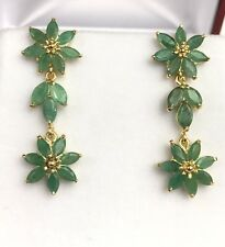 14k Solid Yellow Gold Cluster Dangle Stud Earrings, Natural Emerald 5.5CT. 5.20G