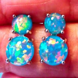 (SE 2)  GORGEOUS BLUE/TEAL  FIRE OPAL STUD  EARRINGS