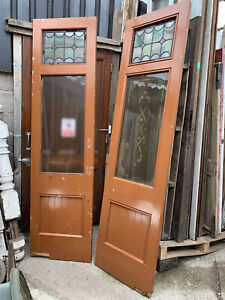 RECLAIMED ANTIQUE PINE of PAIR Part Leaded Glass ENTRANCE DOUBLE DOORS (Saloon)
