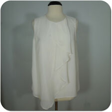 3:1 PHILLIP LIM FOR TARGET Sheer Ivory Sleeveless Blouse Ruffle Front size L