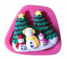 Christmas Scene Snowman Family Silicone Mold for Fondant, GP, Chocolate, Crafts