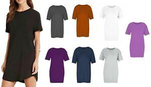 Womens Long Baggy T-shirt Dress Plain Tunic Boyfriend Oversized Top