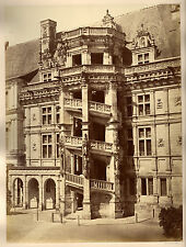 c1870s | MIEUSEMENT | chateau france SPIRAL stairs | LARGE albumen PHOTO 37x28cm