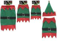 Christmas Pet Elf Outfit 2 Piece Costume Puppy Cat Dog Clothes Gift Fancy Part