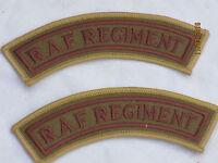 Raf Régiment,Inscription,Cuivre / Kaki,Paire ,Royal Air Force,Armée de L'Air,2