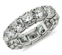 4.99ct Cushion cut Diamond Engagement Band Eternity Ring Solid 14k White Gold