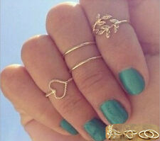 Unique Midi Ring Urban Gold Plated Crystal Above Knuckle Ring 4PCS/Set Ring