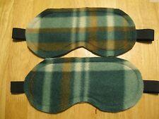 2 Masks Sleep Eye Travel Blindfold Dark Shade Soft Fleece Plaid Brown Green Tan