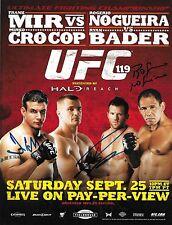Frank Mir Ryan Bader Antonio Rogerio Nogueira Signed UFC 119 8.5x11 Poster 2010