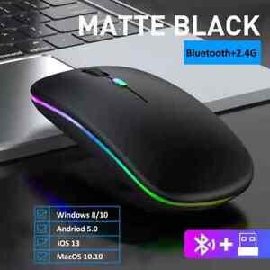 Raton Mouse Inalambrico Ordenador Computadora PC Recargable Con Luces Ergonomico