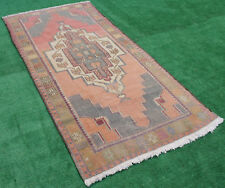 Turkish Rug 49''x92'' Vintage Soft Muted Color Primitive Wool Carpet 4'1''x7'7''