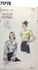 VTG Sewing Pattern Vogue #6036 Size 12 Bust 30 Blouse Unused 1940s