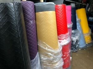 Quilted Faux Leather Vinyl Diamond Fluted Car Seating Vehicle Upholstery Fabric