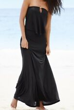 NEXT 14 TALL  BLACK 2 IN 1 FRILL BUST GOLD BAR BANDEAU STRAPLESS MAXI DRESS BNWT