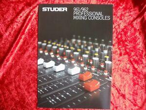 Studer 961/962 Professional Mixing Consoles Brochure Original